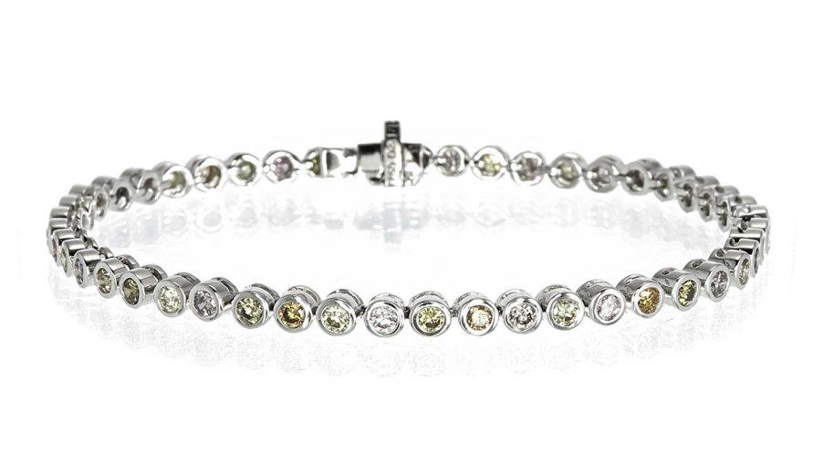 Natural Clear Fancy Unheated Diamond Tennis Bracelet