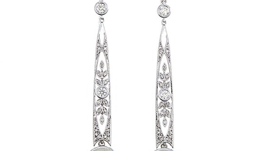 Moonstone and Diamond Fancy Earring