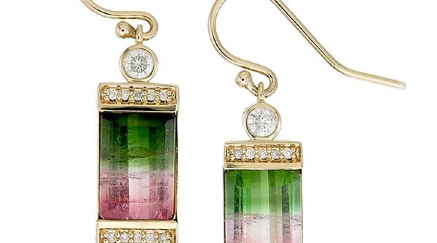 Tourmaline and Diamond  Earring