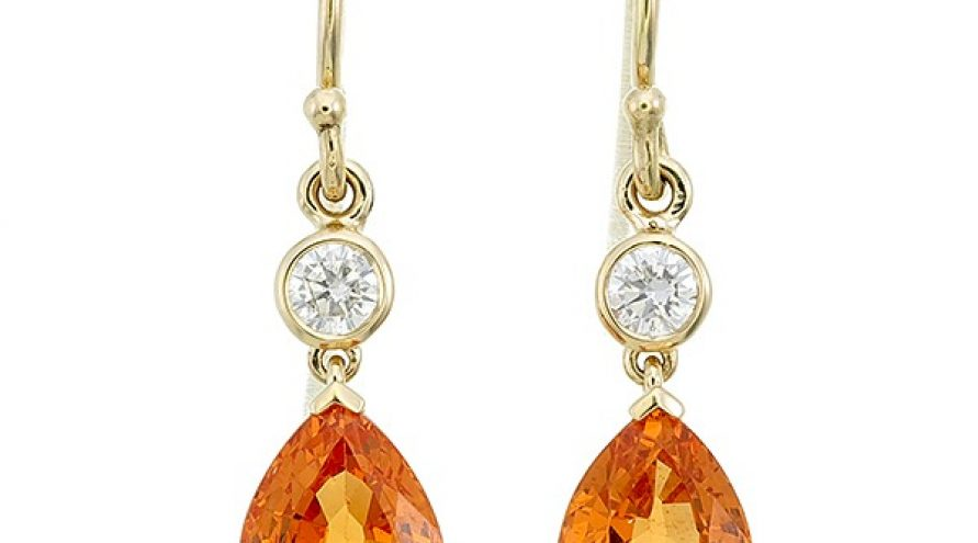 Spessartite and Diamond  Earring