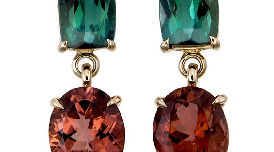 Tourmaline and Diamond  Fancy Earring
