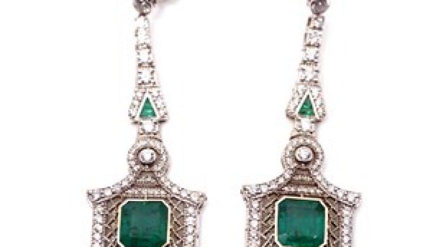 9K WHITE GOLD ART DECO EMERALD DIAMOND EARRINGS