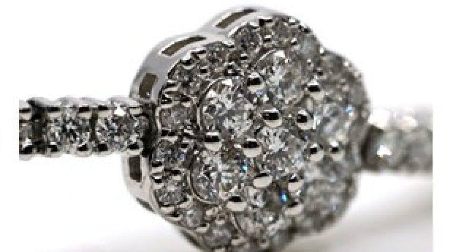 18K WHITE GOLD ADJUSTABLE DIAMOND CLUSTER BRACELET