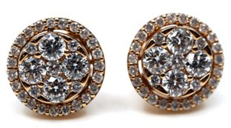 18K YELLOW GOLD CLASSIC CLUSTER DIAMOND EARRINGS