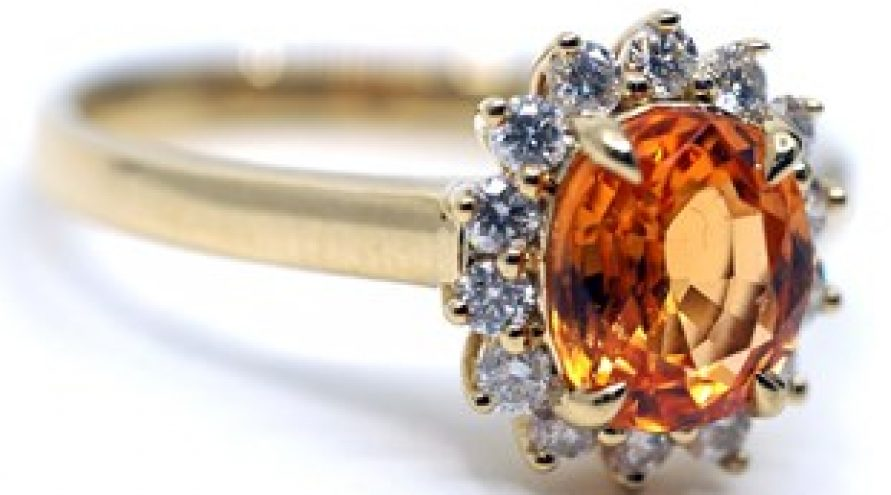 18K YELLOW GOLD SPESSARTITE AND DIAMOND RING