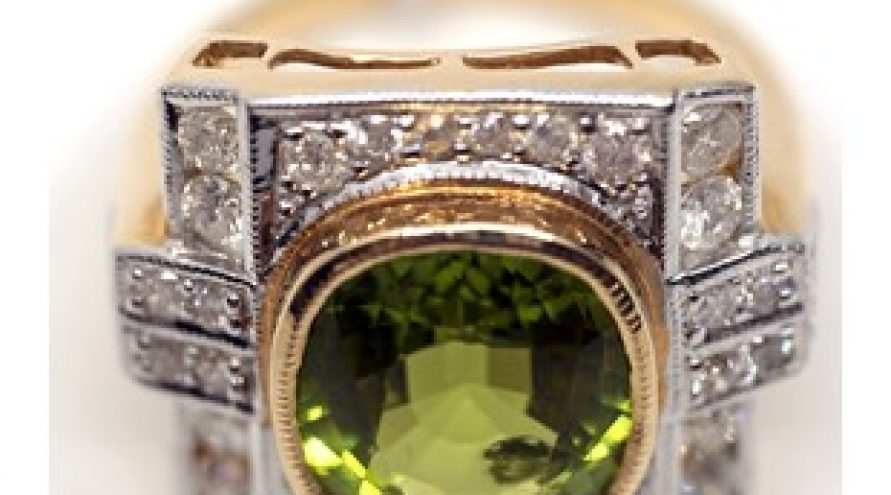 14K YELLOW GOLD BURMESE PERIDOT AND DIAMOND RING