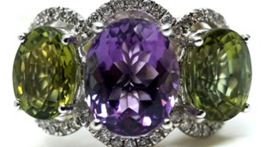 14K WHITE GOLD AMETHYST, TOURMALINE AND DIAMOND RING