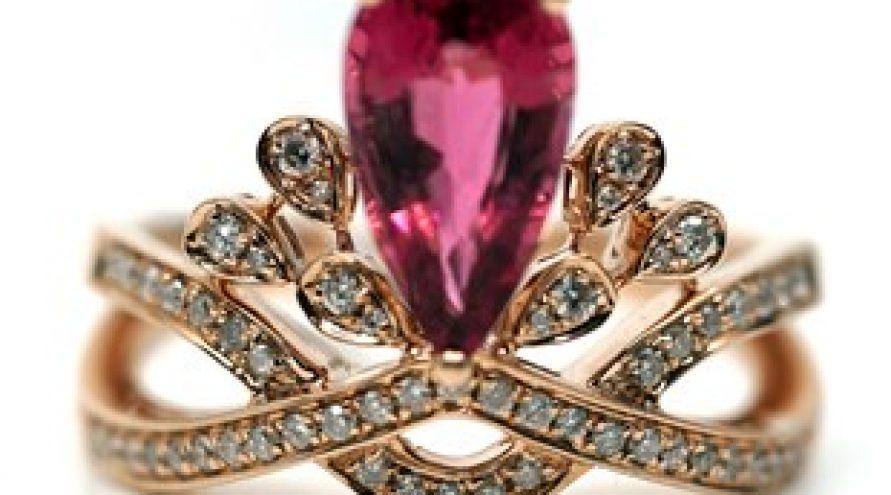 18K ROSE GOLD RUBELITE AND DIAMOND RING
