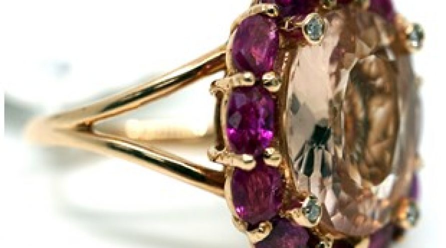 14K YELLOW GOLD RUBY, MORGANITE AND DIAMOND RING