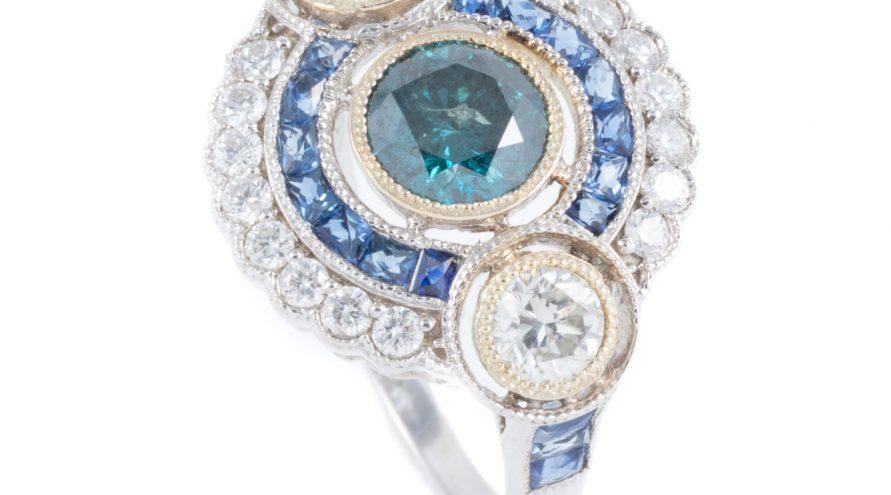 9K WHITE GOLD BLUE SAPPHIRE, BLUE DIAMOND AND DIAMOND RING
