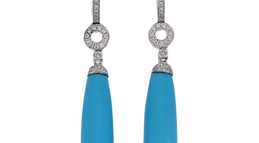 18K WHITE GOLD TURQUOISE AND DIAMOND EARRINGS
