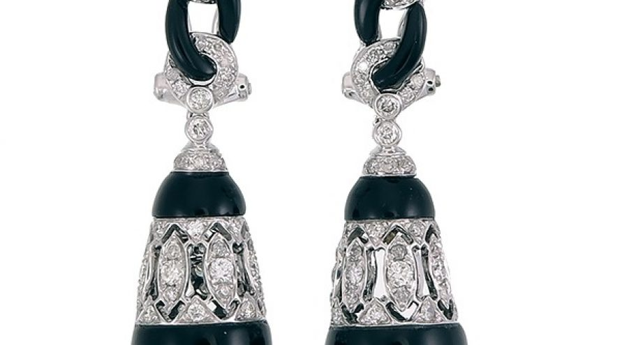 18K WHITE GOLD ONXY AND DIAMOND EARRINGS