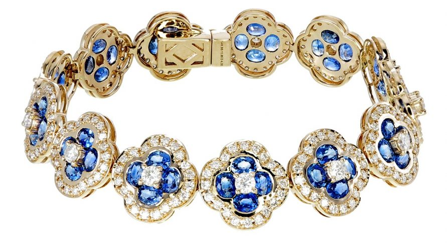 14K YELLOW GOLD BLUE SAPPHIRE AND DIAMOND BRACELET