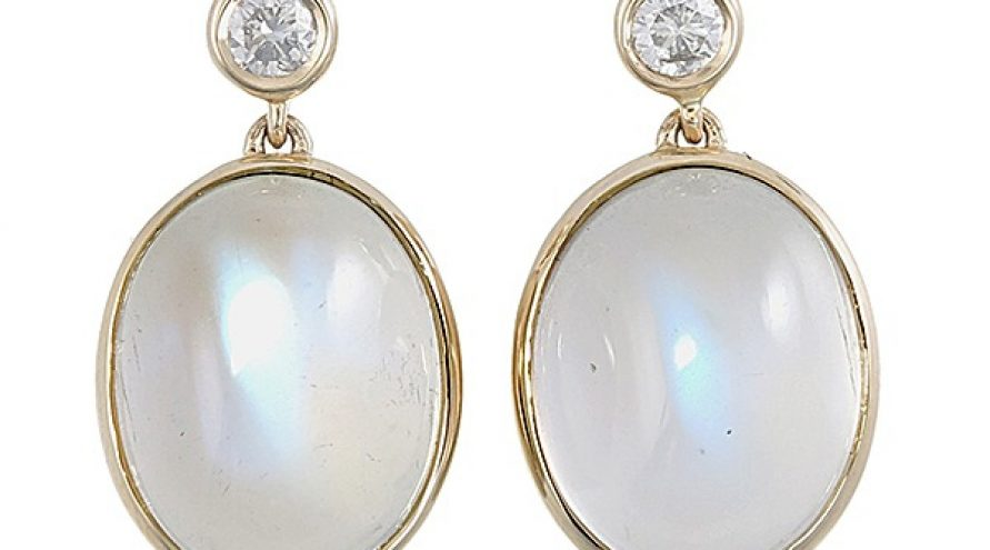 14K YELLOW GOLD MOON STONE AND DIAMOND EARRINGS
