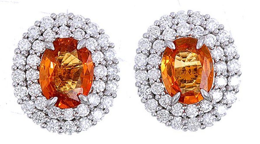 18K WHITE GOLD SPESSARTITE AND DIAMOND EARRINGS