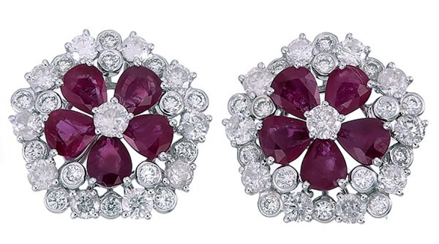 18K WHITE GOLD BURMA RUBY AND DIAMOND EARRINGS