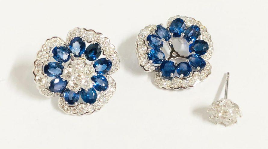 18K WHITE GOLD CEYLON BLUE SAPPHIRE AND DIAMOND EARRINGS