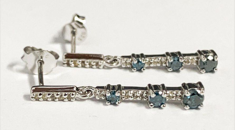 Silver Earring1 w/BLUE DIAMOND