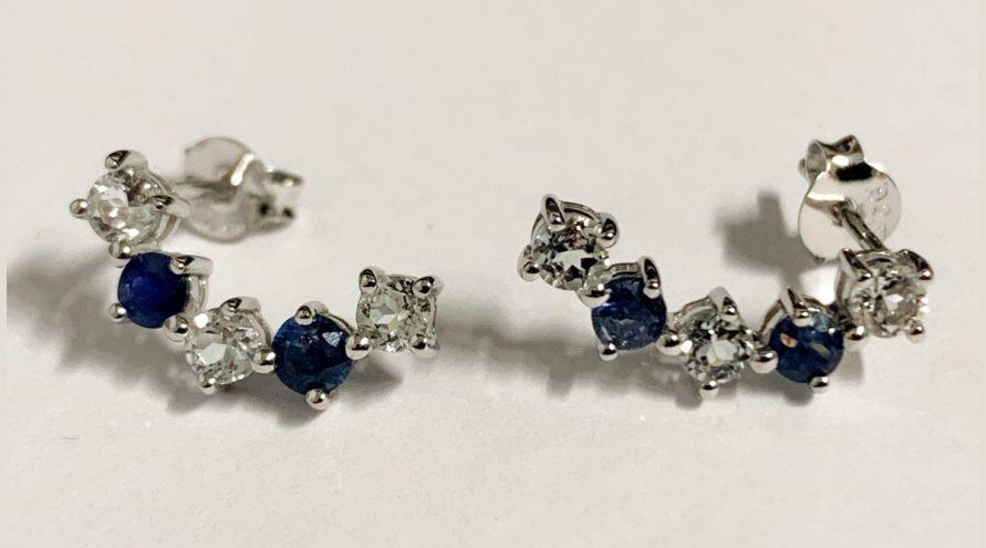 Silver Earring w/BLUE SAPPHIRE