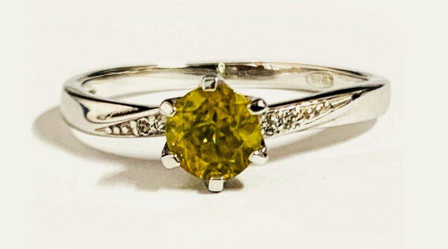 Silver Ring w/YELLOW DIAMOND